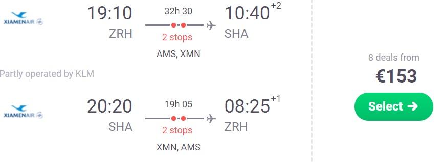ERROR FARE Flights from Zurich to SHANGHAI