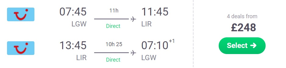Flights from London to COSTA RICA