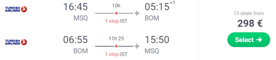 Flights from Minsk to MUMBAI, INDIA Turkish Airlines!
