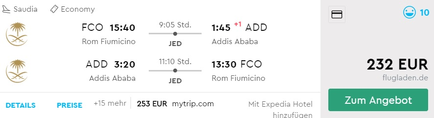 Flights from Rome to ADDIS ABABA ETHIOPIA