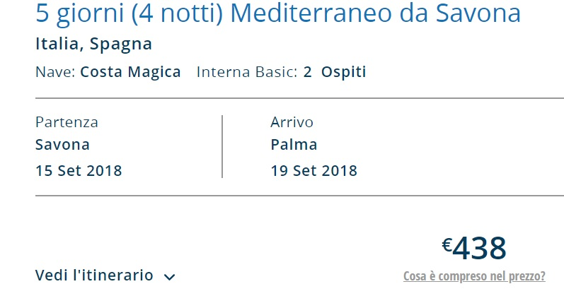 Full Board cruise from Italy to PALMA MALLORCA