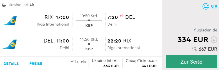 HIGH SEASON Cheap flights to INDIA from Riga