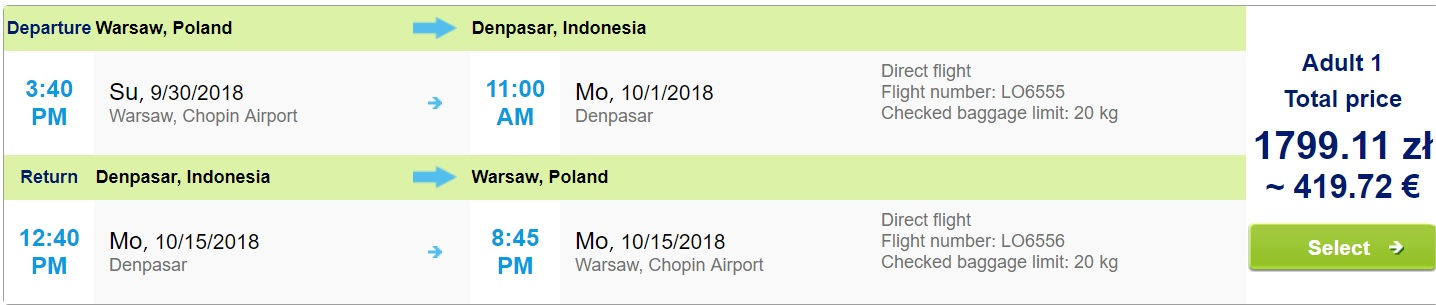LAST MINUTE Non Stop flights from Warsaw to BALI INDONESIA