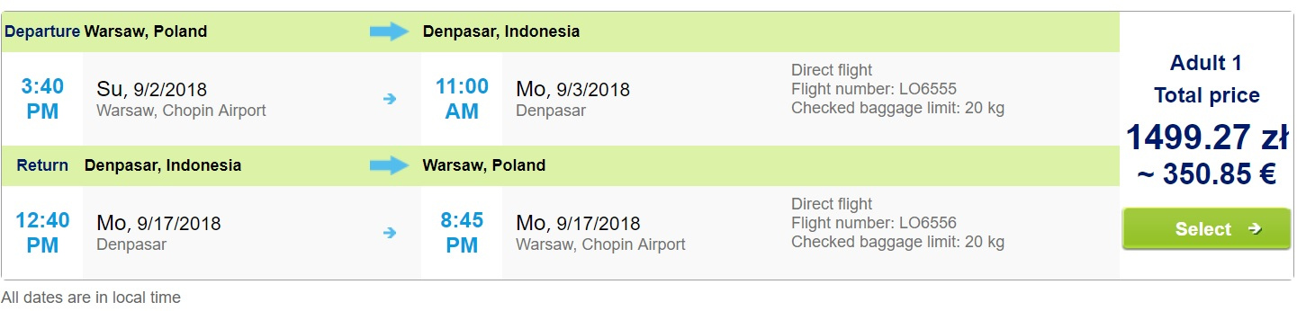 LAST MINUTE Non-Stop flights from Warsaw to BALI (INDONESIA)