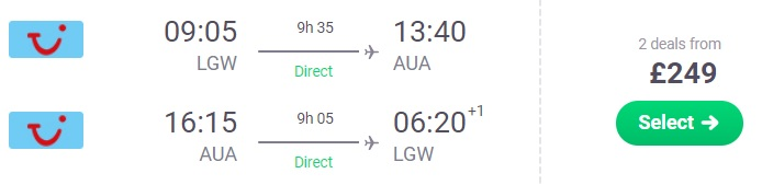 Non-Stop flights from London to ARUBA