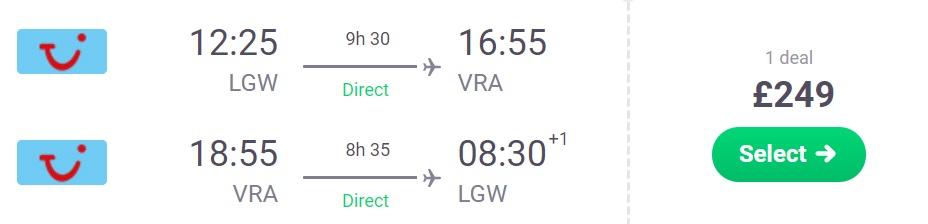 Non-Stop flights from London to CUBA Varadero