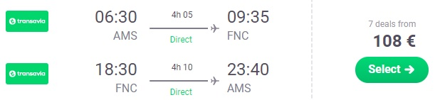 Non stop flights from Amsterdam to MADEIRA