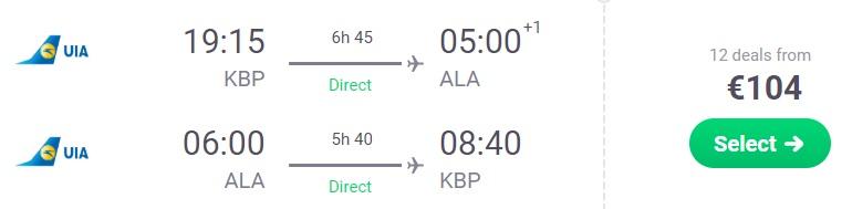 Non stop flights to KAZAKHSTAN from Kyiv Ukraine