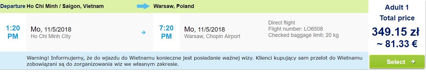 One way flights from Vietnam to WARSAW