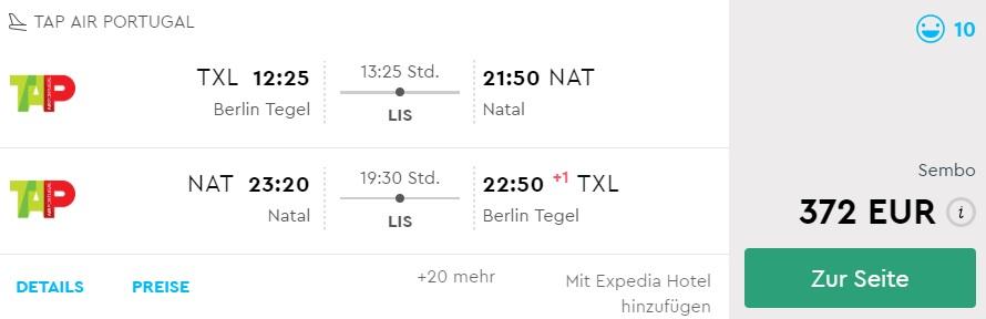 cheap flights berlin natal brazil