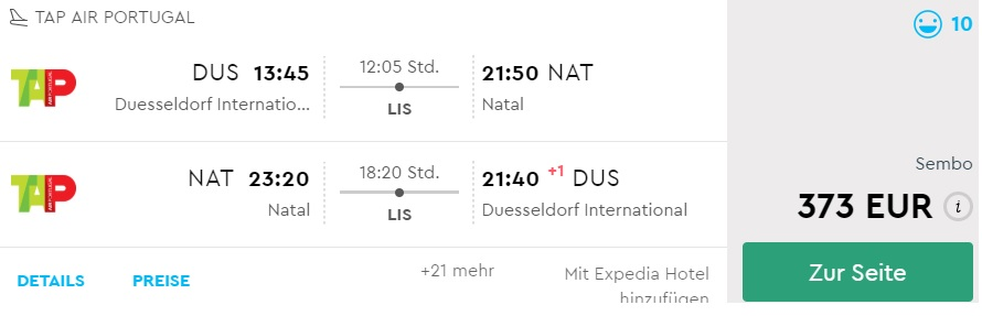 cheap flights dusseldorf natal brazil