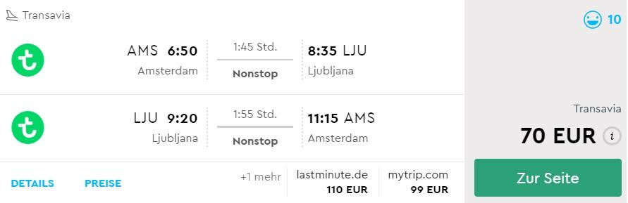 cheap flights from amsterdam to slovenia ljubljana