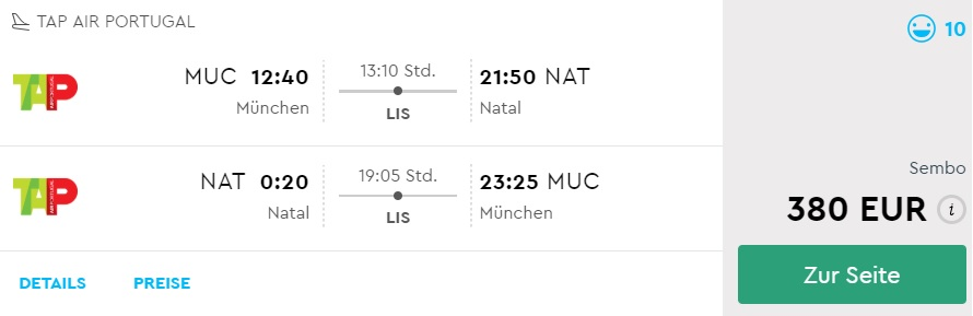 cheap flights from munich to natal brazil