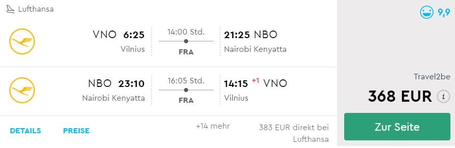cheap flights to kenya from vilnius