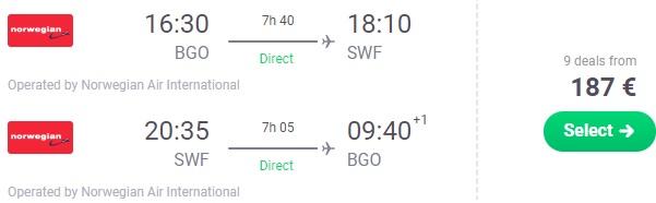 flights from Bergen to New York