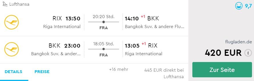 lufthansa flights to bangkok thailand from riga latvia