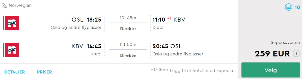 non stop flights from oslo to krabi