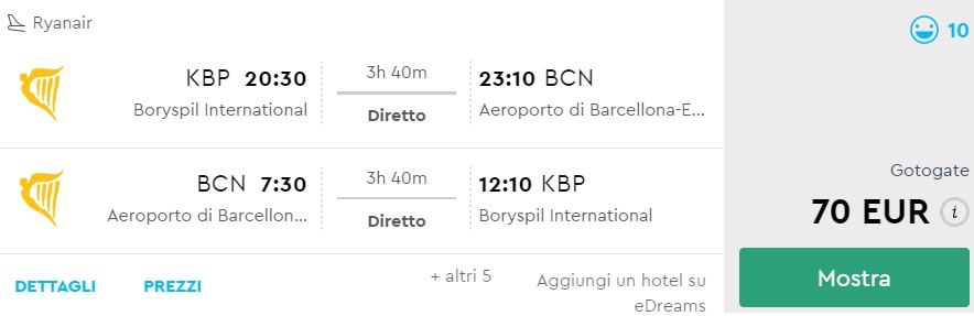 non stop flights kyiv barcelona