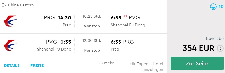non stop flights to shanghai from prague czechia
