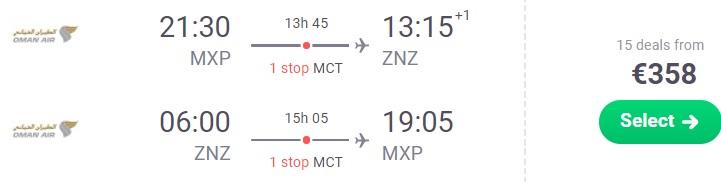 CHEAP Flights from Milan to ZANZIBAR