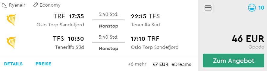 CHEAP Non stop flights to TENERIFE from Oslo Norway