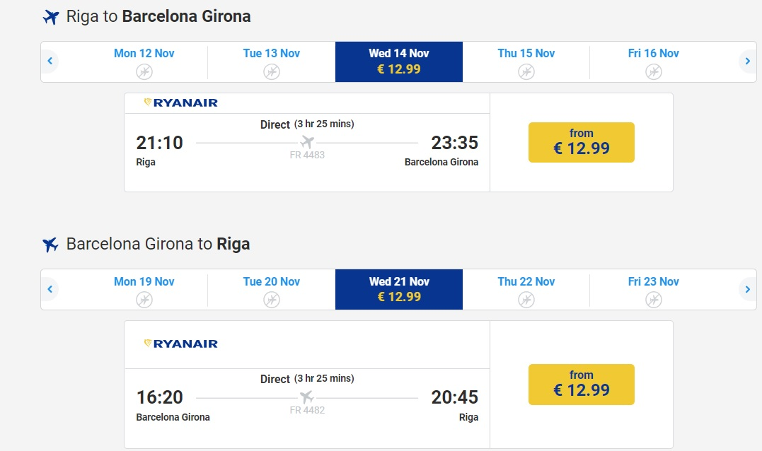 Cheap flights to BARCELONA from Latvia riga