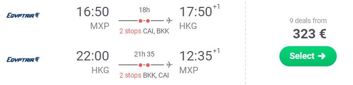 Cheap flights to HONG KONG from Italy