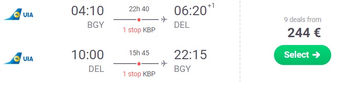 Cheap flights to NEW DELHI, INDIA from Milan Italy
