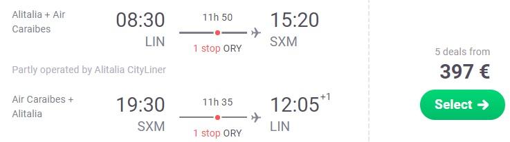 Cheap flights to SAINT MARTIN from Milan Italy