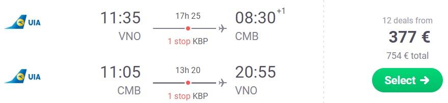 Cheap flights to SRI LANKA from Vilnius lithuania
