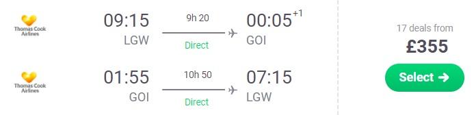 FULL-SERVICE flights to GOA India from London UK