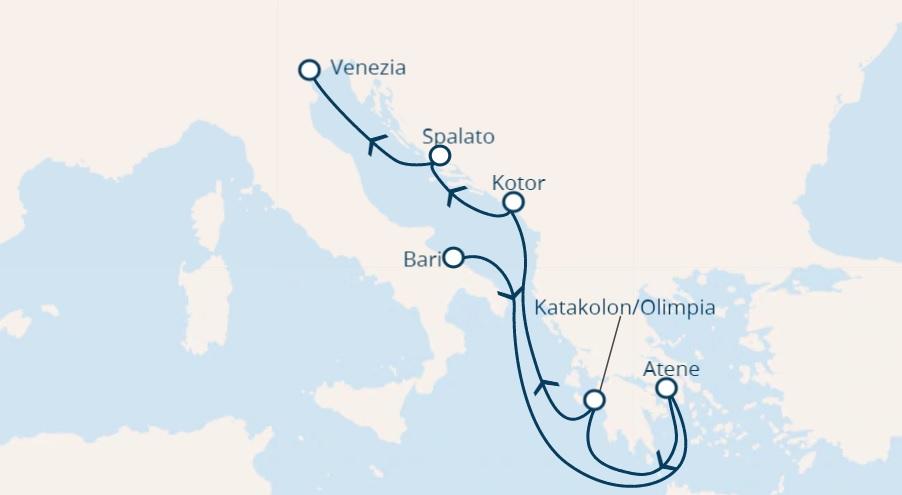 Full Board cruise Italy, Greece, Montenegro, Croatia