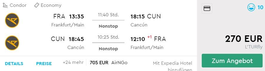 LAST MINUTE flights from Frankfurt to CANCUN Mexico