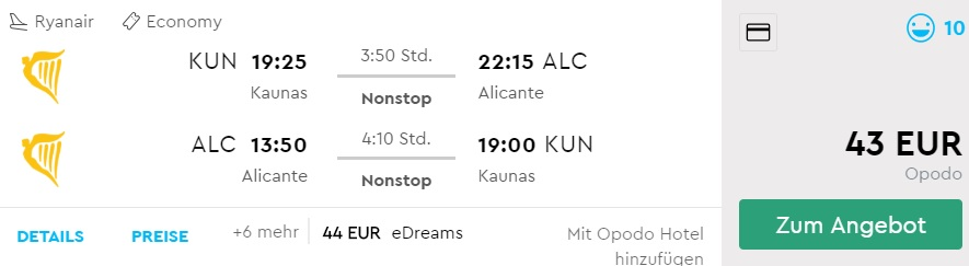 Non Stop flights to ALICANTE from Lithuania