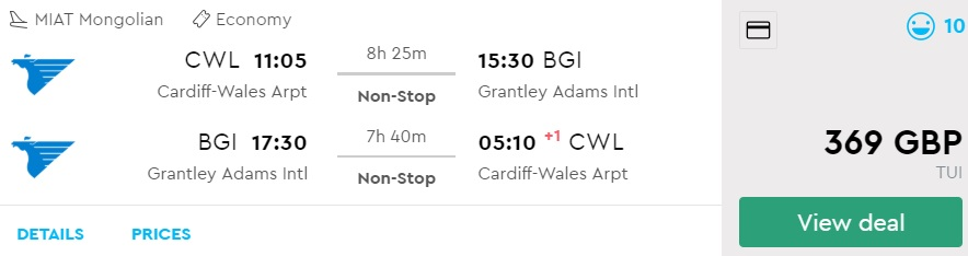 Non stop flights Cardiff UK BARBADOS