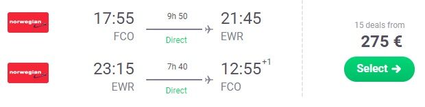 Non stop flights from Rome to NEW YORK