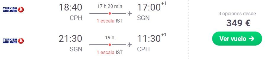Turkish Airlines Cheap flights to VIETNAM from Copenhagen