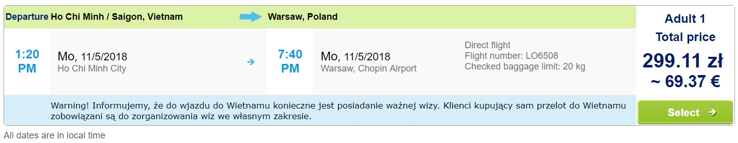 cheap flights from vietnam to warsaw