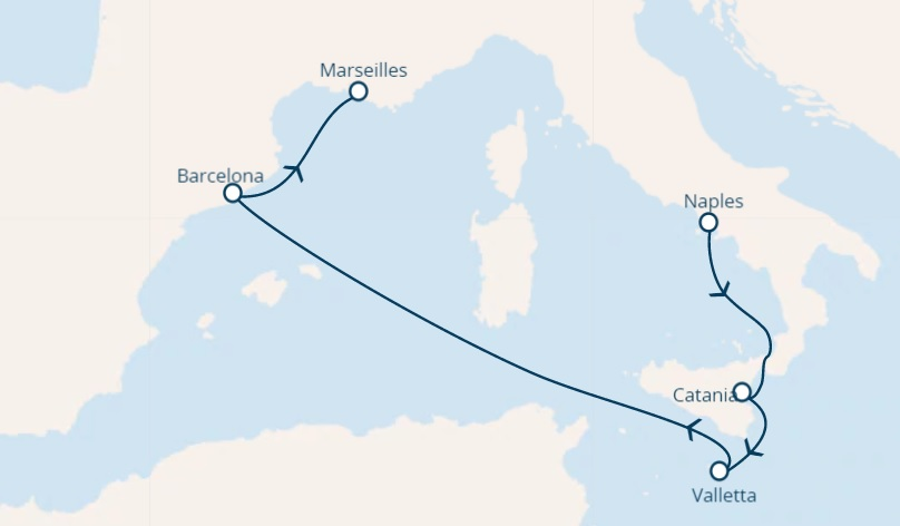 full Board cruise from Naples Italy around the Mediterranean Sea