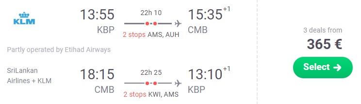 CHEAP Flights from Kyiv to SRI LANKA