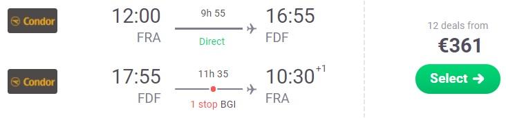 Cheap flights from Frankfurt to MARTINIQUE Condor