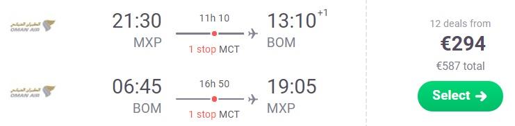 Cheap flights from Milan to MUMBAI