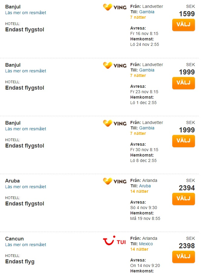 Cheap flights from Sweden to ARUBA