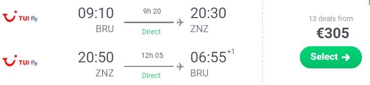 Cheap flights to ZANZIBAR from Brussels Belgium