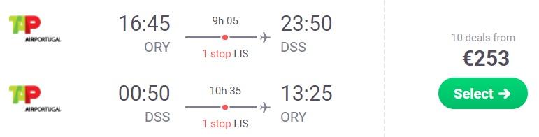 Flights from Paris to SENEGAL DAKAR
