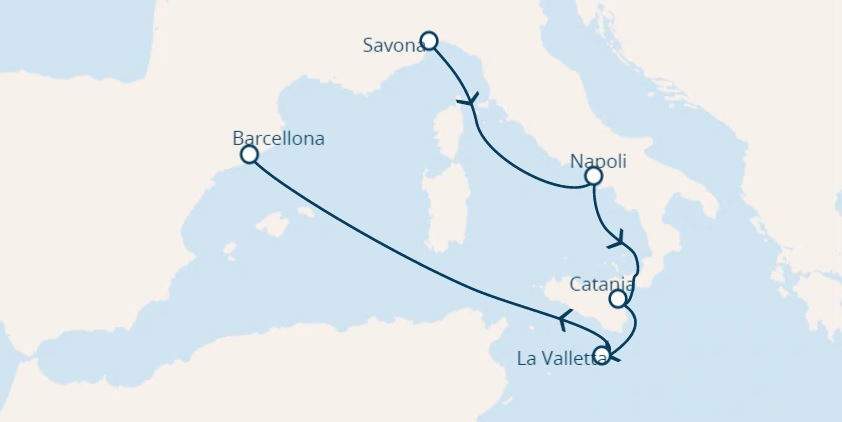 Full Board cruise from Savona Italy to Barcelona