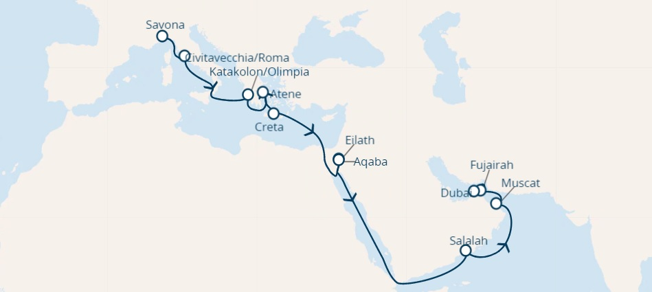 Full Board cruise from Savona, Italy to DUBAI