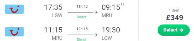 Last Minute Direct flights from London to MAURITIUS