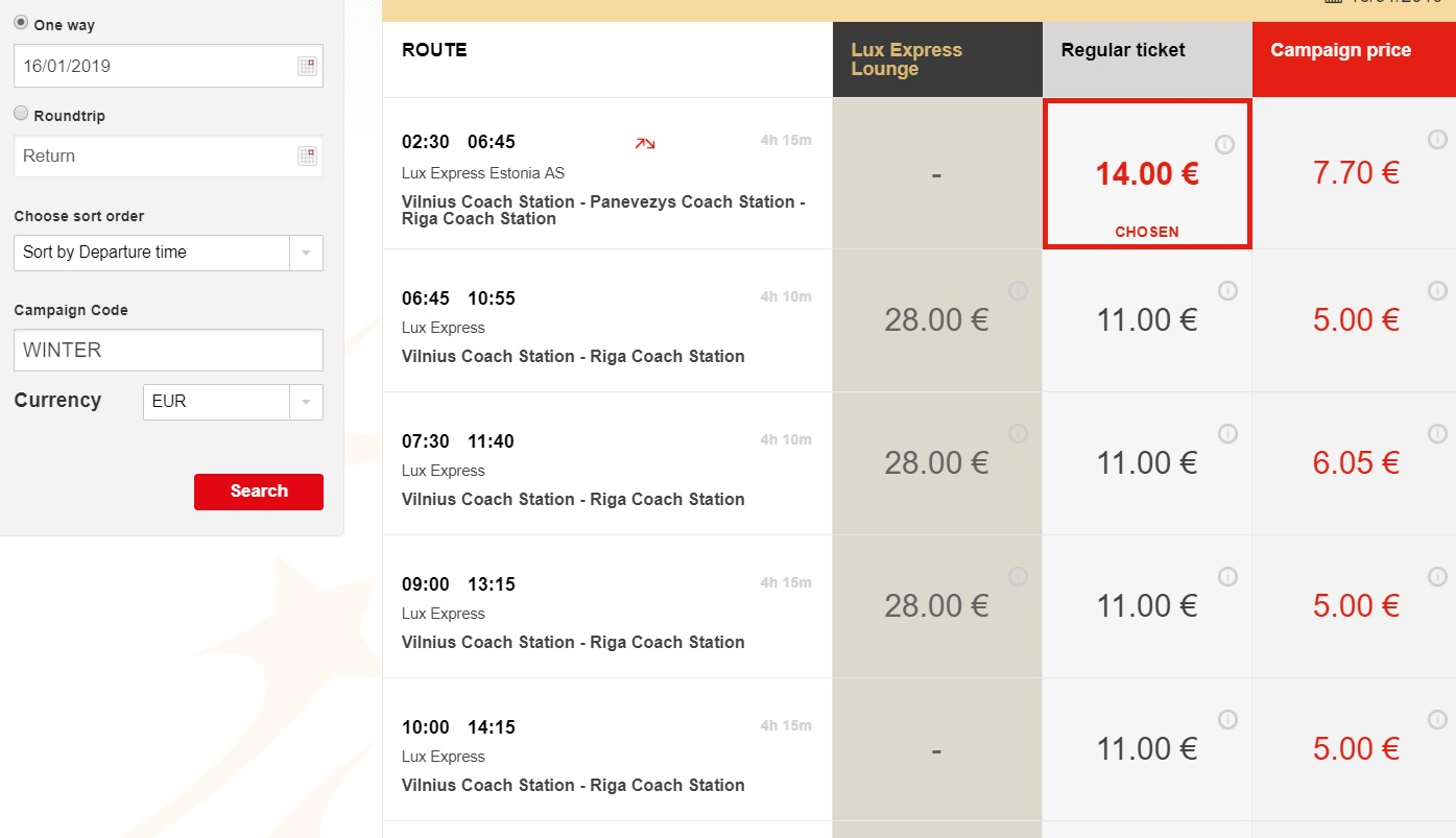 Lux Express SALE bus tickets