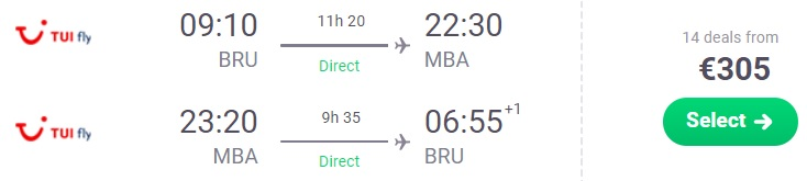 Non stop flights from Brussels to KENYA
